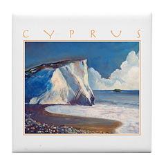 Aphrodite's Rocks, moonlight - Cyprus Tile Coaster