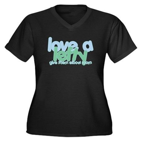 Love a Lefty Women's Plus Size V-Neck Dark T-Shirt