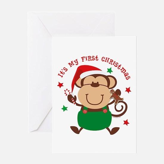 Monkey Boy 1st Christmas Greeting Card