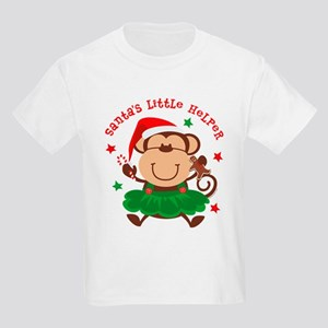 Monkey Girl Santa's Helper Kids Light T-Shirt