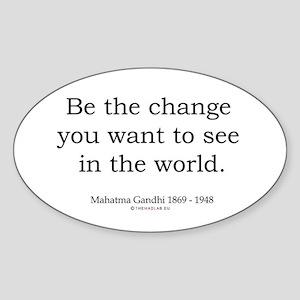 Mahatma Gandhi 5 Oval Sticker