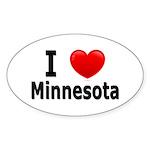 I Love Minnesota Oval Sticker (50 pk)