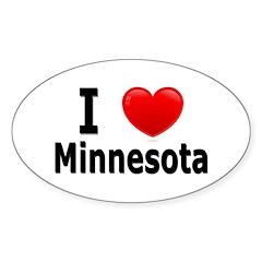 I Love Minnesota Oval Decal