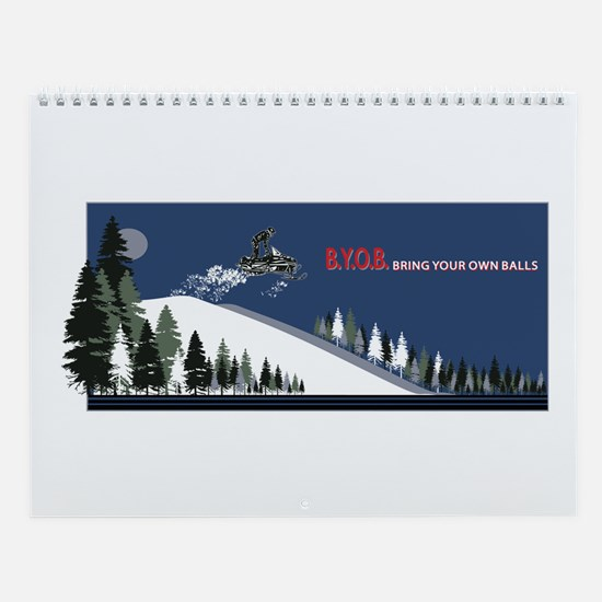 Cute Snowmobile Wall Calendar