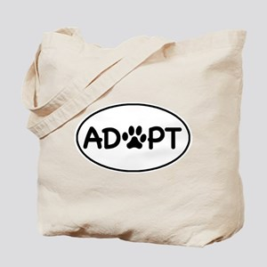 Adopt White Oval Tote Bag