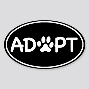 Adopt Black Oval Oval Sticker