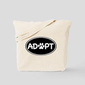 Adopt Black Oval Tote Bag