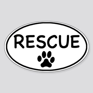 Rescue White Oval Oval Sticker
