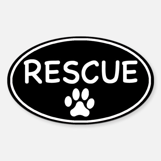 Rescue Black Oval Oval Decal