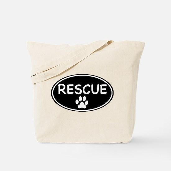 Rescue Black Oval Tote Bag
