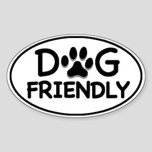 Dog Friendly White Oval Oval Sticker