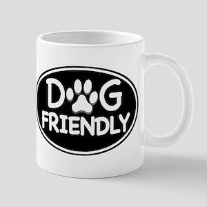 Dog Friendly Black Oval Mug