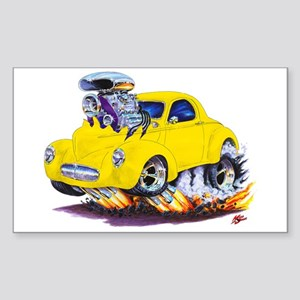 1941 Willys Yellow Car Rectangle Sticker