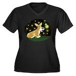 Firefly Corgi Women's Plus Size V-Neck Dark T-Shir
