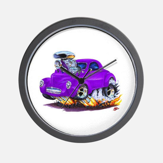 1941 Willys Purple Car Wall Clock