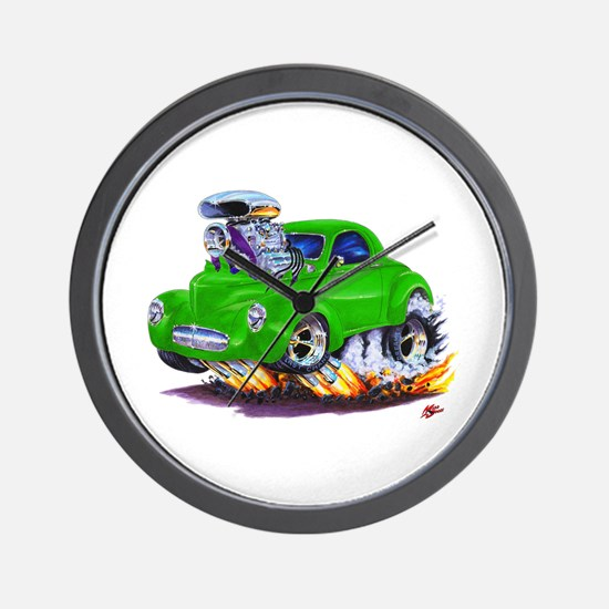 1941 Willys Green Car Wall Clock