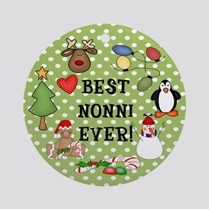Best Nonni Ever Christmas Ornament (Round)