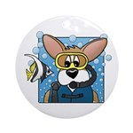 Scuba Diving Corgi Ornament (Round)