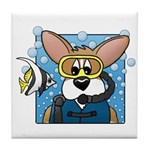 Scuba Diving Corgi Tile Coaster