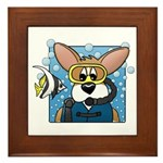 Scuba Diving Corgi Framed Tile