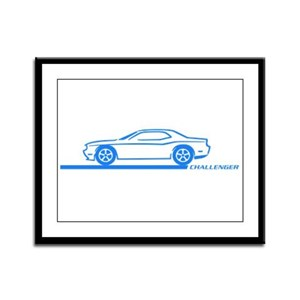 2008-10 Challenger Blue Car Framed Panel Print