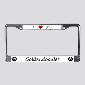 White I Love My Goldendoodles License Plate Frame