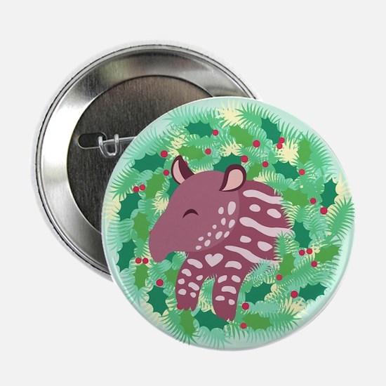"""Retro Baby Tapir XMAS Wreath 2.25"""" Button"""