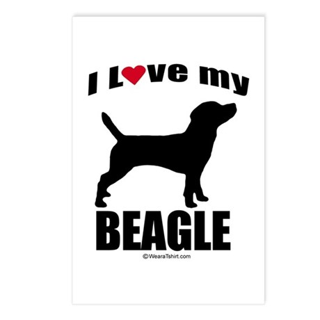 I Love my Beagle ~ Postcards (Package of 8)