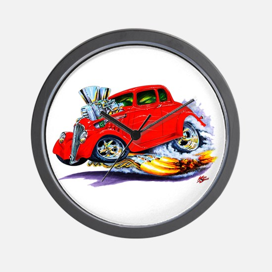 1933-36 Willys Red Car Wall Clock
