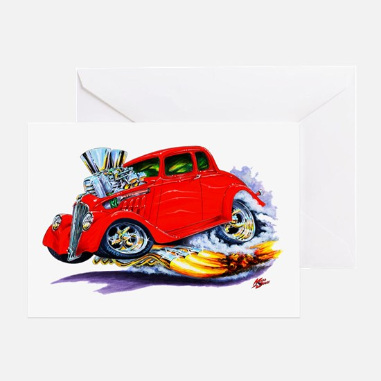 1933-36 Willys Red Car Greeting Card