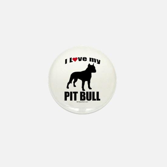 I Love my Pit Bull ~ Mini Button