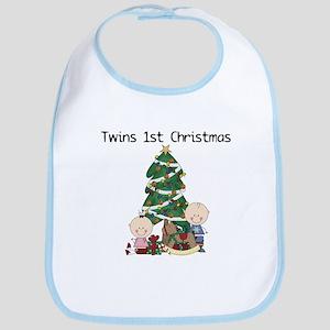 Twins First Christmas Bib