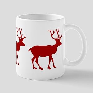 Red And White Reindeer Motif Mug
