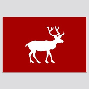 Red And White Reindeer Motif Large Poster