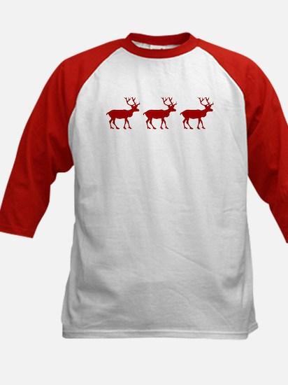 Red And White Reindeer Motif Kids Baseball Jersey