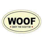 WOOF! SCOTTIE Scottish Terrier Oval Sticker