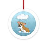 Rainy Day Corgi Ornament (Round)