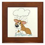 Rainy Day Corgi Framed Tile