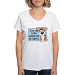 Pathetic Eyes Corgi Women's V-Neck T-Shirt