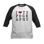 I Heart Typography Kids Baseball Jersey