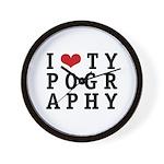 I Heart Typography Wall Clock