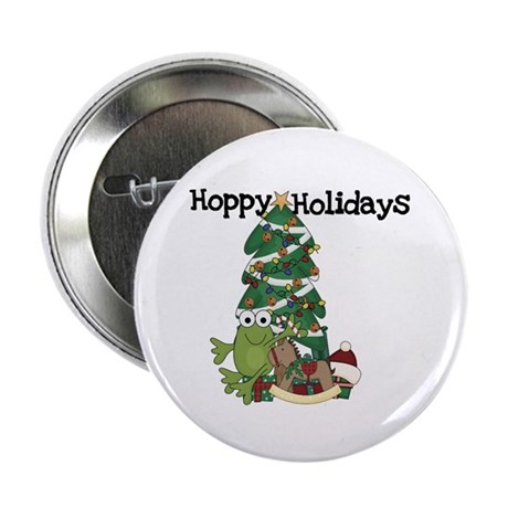 "Frog Hoppy Holidays 2.25"" Button (100 pack)"
