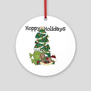 Frog Hoppy Holidays Ornament (Round)