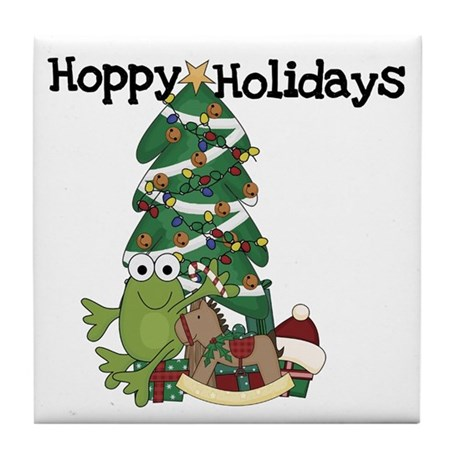 Frog Hoppy Holidays Tile Coaster