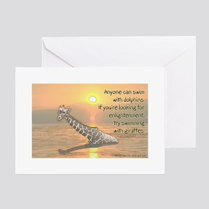 Swimming With Giraffes Greeting Cards (Package of