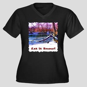 Let It Snow! Women's Plus Size V-Neck Dark T-Shirt