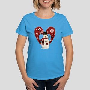 Snowman and Heart Women's Dark T-Shirt