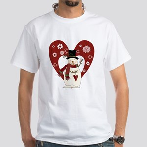 Snowman and Heart White T-Shirt