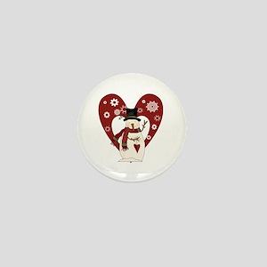 Snowman and Heart Mini Button