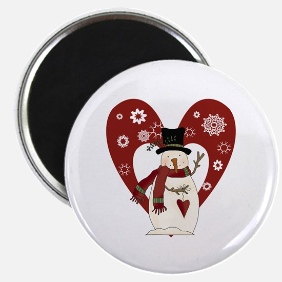 """Snowman and Heart 2.25"""" Magnet (10 pack)"""